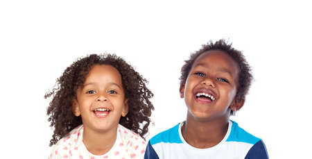Happy children laughing isolated on a white background
