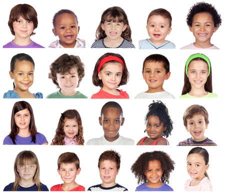 People Set of Diversity Kids Playful Studio Collage Banco de Imagens