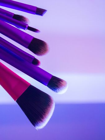 neutrals: Set of cosmetic brushes. Stock Photo