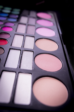 necked woman: Makeup palette of blush and eye shadow.