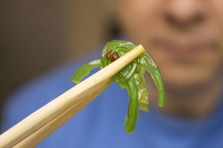 중국 녹색 해조류. 코모 미역.