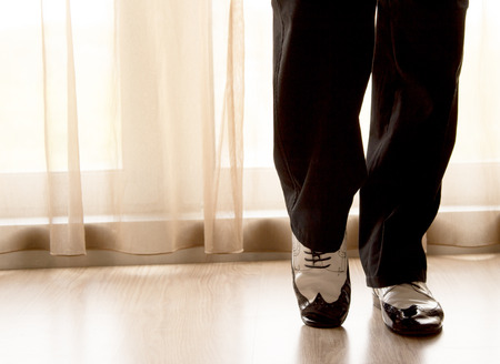 waltzing: Black and white male dancing shoes Stock Photo