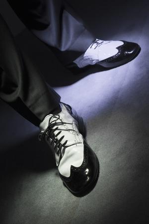 waltzing: Dancing shoes feet of male ballroom, latin, salsa and swing dancer
