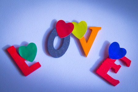 Word love made with wood letters Stock Photo