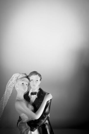 topper: Newlyweds embraced bride and groom Stock Photo