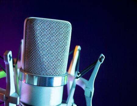 Microphone in sound recording studio