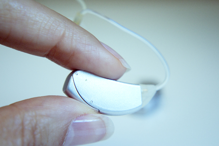 Hearing aid for deaf people. No people Stock Photo