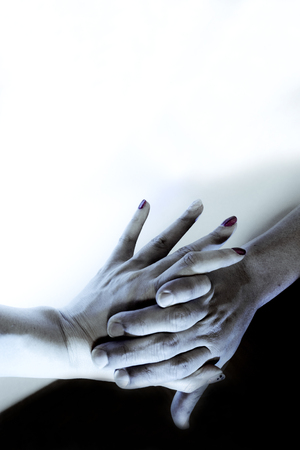 Hands caught of man and woman. Copy space