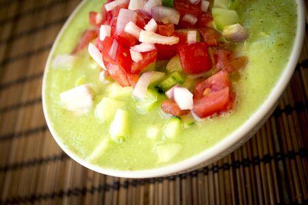 Green cucumber and tomato gazpacho. Healthy, vegetarian and vegan food Stock Photo
