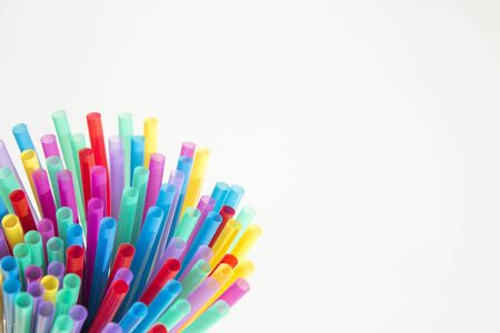 Colored drinking straws.Party.No people Stock Photo