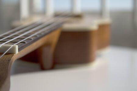 Natural wood ukulele. No people