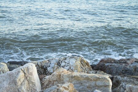 Rocks by the sea waves. No peopole. Peace and relax landscape
