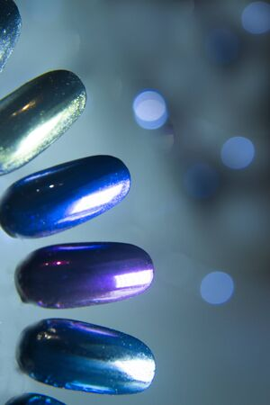 Different color swatches for acrylic nails