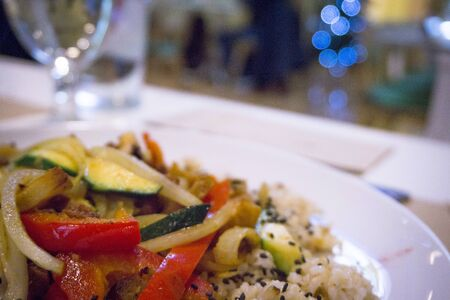 Restaurant meal with healthy food suitable for vegans and vegetarians