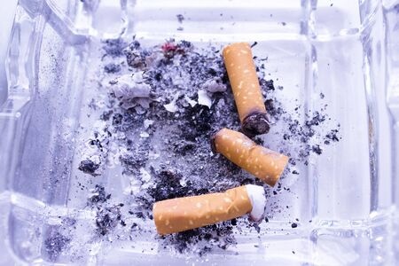 Ashtray with several cigarettes consumed and extinguished. Cigarette ash