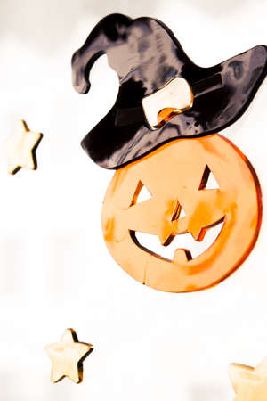 Pumpkin with face drawn for halloween. 写真素材