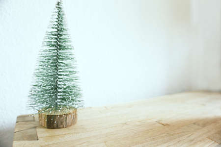Green christmas tree on neutral background without decoration. No people