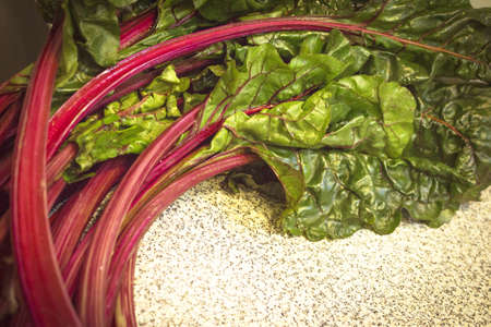 Fresh red chard without cooking. Healthy food for vegetarians and vegans