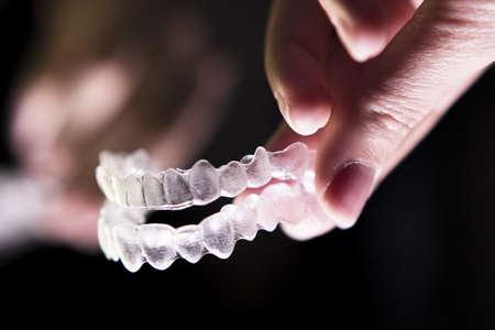 Transparent ferule retainer teeth alignment. Copy space