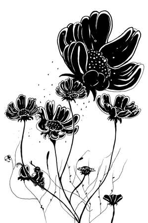 affectionate: Butterfly and flower illustration  Illustration