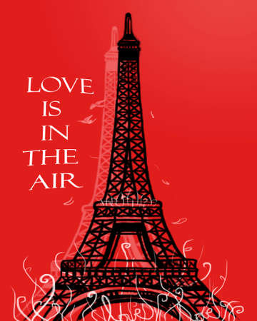 romantic couple: in love with paris Illustration