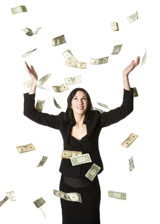 Woman and a lots of dollar-bills