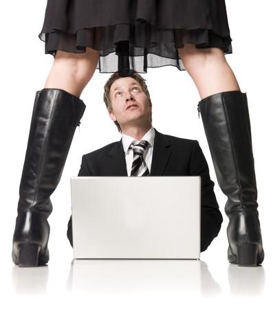 female boss: Menschen mit einem Computer Angst vor seiner weiblichen Chef