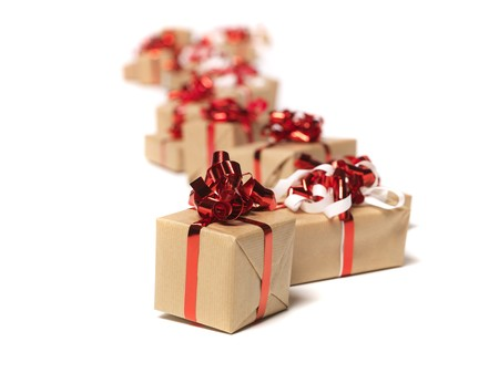 gift packs: Christmas gifts in a row