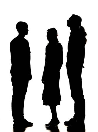 tallness: silhouette of two men and a woman