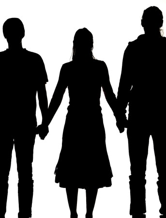 silhouette of a woman and two men holding hands stock photo picture