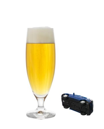 glass of beer and a car Stock Photo - 4375093