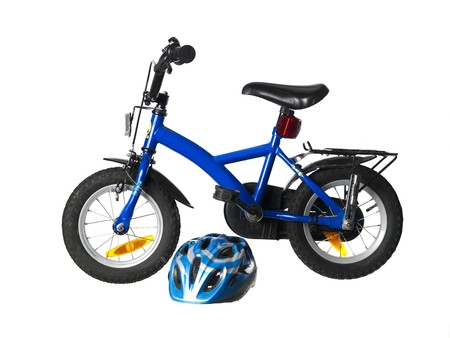 helmet seat: Child�s bicycle Stock Photo
