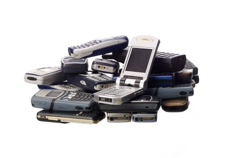 out of order: Stack of cellphones