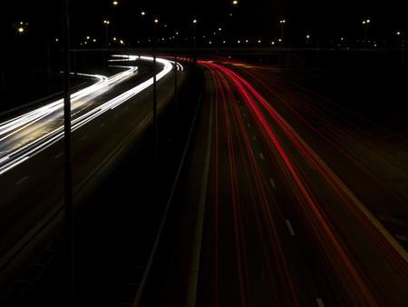 neonlight: traffic in the night Stock Photo