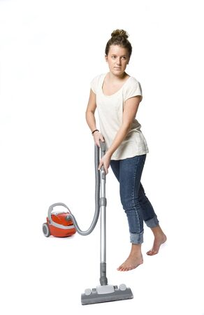 woman with vacuum cleaner photo