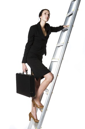 upstairs: Buisness woman climbing a ladder