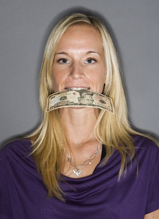 dollarbill: Woman with a dollar-bill in her mouth