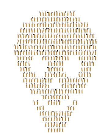 頭蓋骨の形状にコラージュのタバコの吸い殻 写真素材