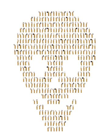 unhealthiness: Collage of cigarette butts in shape of skull Stock Photo