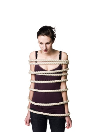 bound woman: Tied up woman Stock Photo
