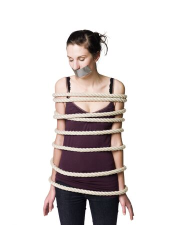 Tied up woman with tape over her mouth photo