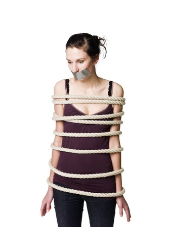 bound woman: Tied up woman with tape over her mouth
