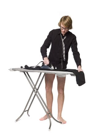 Man ironing his pants Stock Photo - 4395839