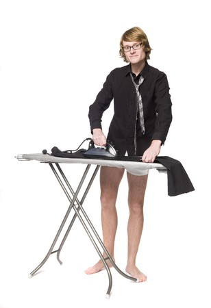 Man ironing his pants Stock Photo - 4395898