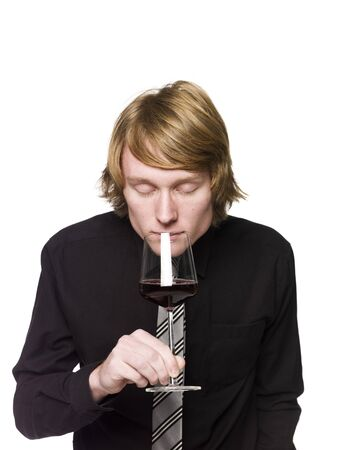 Man smelling wine Stock Photo - 4396091
