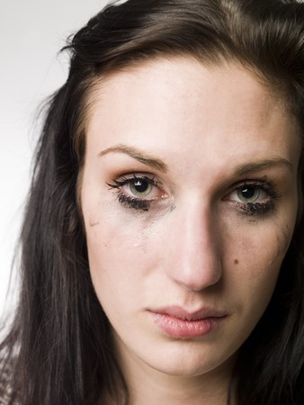 oiled: Crying woman