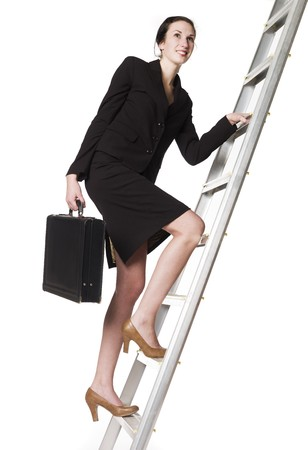 attach: Woman with an Attach� climbing a ladder