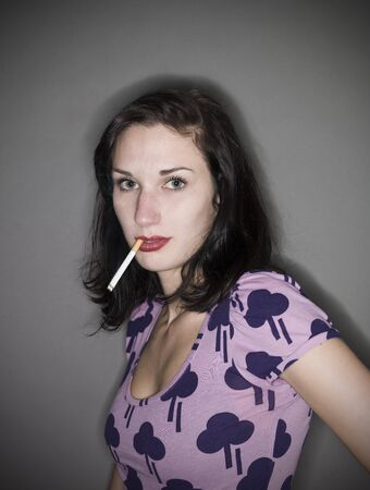 Woman with a cigarette photo