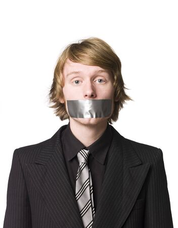 Man with tape over his mouth photo