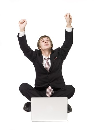 Happy man with a computer Stock Photo - 4396276
